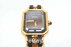 Première Chanel Authentique Montre Plaqué Or En Cuir Noir CC 95031