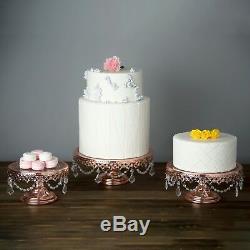 Présentoir À Gâteau 3 Pièces En Verre Rose Plaqué Or Rose