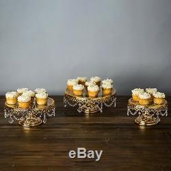 Présentoir À Gâteau En Forme De Support À Gâteau Plaqué Or Brillant, 3 Pièces, Dessus En Verre