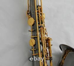 Professional Black Nickel Or Tenor Sax Gravure Bell Saxophone +metal Bouche