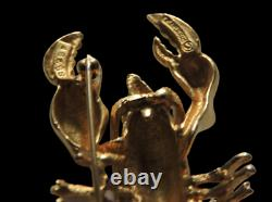 Rare Marcel Boucher Lobster Brooch Pin Or Plaqué Red Strass Yeux Brooch