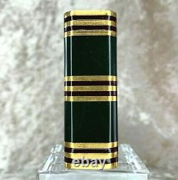 Rare Vintage Cartier Lighter Dark Green Lacquer 18k Gold Plated Stripes Withbox