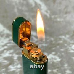 Rare Vintage Cartier Lighter Vert Laque 18k Plaqué Or Accents Avec Boîtier