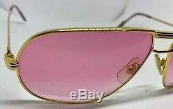 Rare Vintage Cartier Rose Lenses Tank Lunettes De Soleil - Plaqué Or - Années 1980