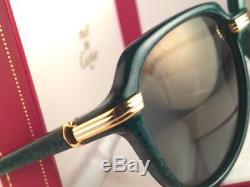 Rare Vintage Cartier Vitesse Vert Jade Édition 58mm Lunettes De Soleil En Or 18 Carats Plaqué