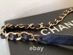 Rare Vintage Chanel Chaîne Plaquée Or Lien Ceinture En Cuir