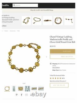 Rare Vintage Chanel Gold Plaqué Lucky Charm Belt