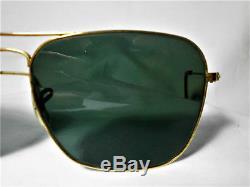 Ray Ban Caravan, 58 Mm, Plaqué Or 22 Carats, Verres Cristallins, B & L Usa, Vintage