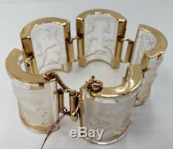 Rene Lalique - Bracelet Paris Enfants À Panneaux De Verre Métal Doré Et Doré 1990