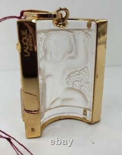 Rene Lalique -paris Enfant Pendentif Glass Panel Gold Plated Gilt Metal 1990