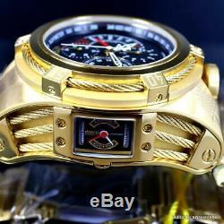 Réserve Invicta Bolt Zeus Tria 3 Plaqué Or Suisse Dials 56mm Black Watch Nouveau