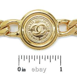 Rise-on Chanel Gold Plated CC Logos Medal Charm Vintage Chain Belt #125c