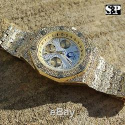 Robe Band Metal Men Plaqué Or Iced Luxe Quavo Rapper Clubbing Montre