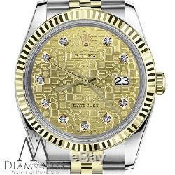 Rolex Datejust 36 MM Pour Homme, Cadran À 2 Tons Avec Diamant, Jubilé Champagne En Métal