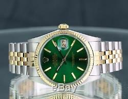 Rolex Montre Datejust 16013 En Or Jaune 18 Carats Et Acier Avec Cadran Vert