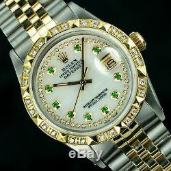 Rolex Montre Datejust Homme 16013 36mm Vadrouille Diamant Cadran Émeraude Lunette Or Pyramid