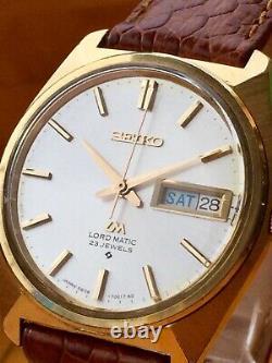 Seiko Lord Matic 5606-7000 Weekdater Vintage Années 1970 Plaqué Or Aux Etats-unis