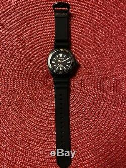 Seiko Samurai Prospex Automatique / Pistolet En Métal Plaqué Ion Cas / Bracelet En Caoutchouc Srpb55