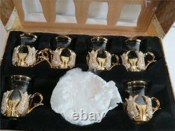 Sena Hanedan Gold Plaqué Turc Tea Glasses Service Set For 6 Made In Turkey