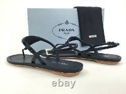 Sz. 36 Prada Triangle Logo Plaque String Sandal Bleu Patent Chaussures En Cuir Diapositive