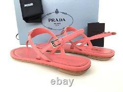 Sz. 39 Prada Triangle Logo Plaque String Sandal Rose Patent Chaussures En Cuir Slide