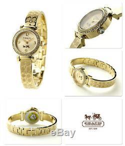 Tn-o Coach Signature Des Femmes Etched Plaqué Or Ton Bracelet Montre 24mm 14502202