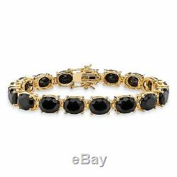 Véritable Noir Onyx 14k Plaqué Or Tennis Bracelet 7.5