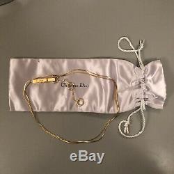 Véritable Or Christian Dior Plaqué Clip De Ceinture En Métal Chaîne Logo / Collier