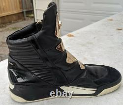 Versace Medusa Gold Plate Black Leather High-top Sneakers Boots Rare Hommes 11