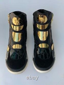 Versace Medusa Sneakers Gold Plate En Cuir Noir Haut Baskets Montantes Bottes Rare