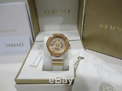 Versace Montre-bracelet En Cuir Blanc Vlc040014 V-metal Icon Pour Femme, Acier, Acier