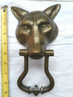 Vieux Métal Victorien Wolf Door Knocker Avec Plaque De Frappe