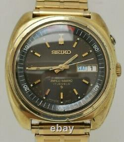 Vintage 1971 Seiko Bellmatic 4006 6031 Alarme Gold Plate Brown Face Gents Watch
