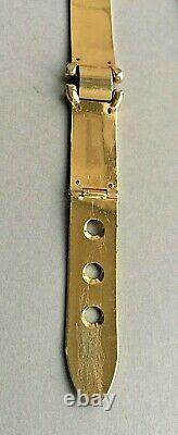 Vintage Années 1970 Gucci Belt Metal Gold Plaqué Émail Brown/cream Italie