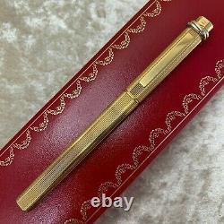 Vintage Authentic Cartier Ballpoint Pen Vendome Trinity 18k Or Plaqué Avec Boîtier