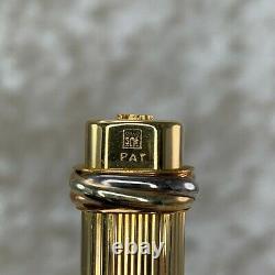 Vintage Authentic Cartier Ballpoint Pen Vendome Trinity 18k Or Plaqué Avec Case2
