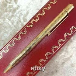 Vintage Authentic Must De Cartier Ballpoint Godron Gold Plaqué Avecbox&papers (nouveau)