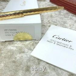 Vintage Authentic Must De Cartier Ballpoint Pen 18k Gold Plated Godron With Case