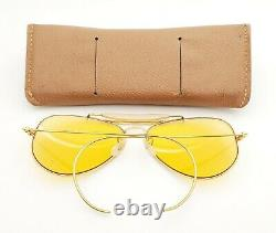 Vintage B & L Ray Ban Bausch & Lomb 58mm Ambermatic Aviator Outdoorsman Withcase