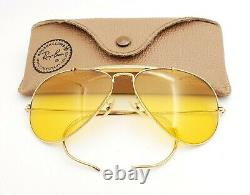Vintage B & L Ray Ban Bausch & Lomb Outdoorsman Aviator Ambermatic 58mm Withcase
