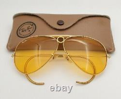 Vintage B & L Ray Ban Bausch & Lomb Ambermatic Aviator Shooter 62mm Withcase