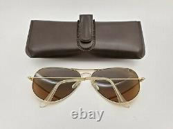Vintage B&l Ray Ban Bausch & Lomb B15 Tgm Aviateur Plaqué Or 62mm Avec Boîtier