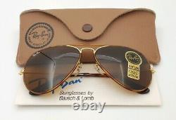 Vintage B&l Ray Ban Bausch & Lomb B15 Tortuga Brun 58mm Aviateur Avec Boîtier
