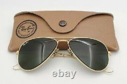 Vintage B&l Ray Ban Bausch & Lomb G15 Gris Aviateur En Or 52mm Avec Boîtier