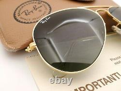 Vintage B&l Ray Ban Bausch & Lomb Gold Aviator G15 Gray 58mm L0205 Avec Boîtier