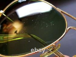 Vintage B&l Ray Ban Bausch & Lomb Gold Aviator Rb3 Green 62mm Withcase+tag