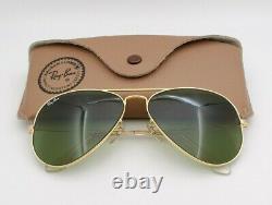 Vintage B&l Ray Ban Bausch & Lomb Gold Aviator Rb3 Vert 58mm Avec Boîtier