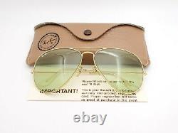 Vintage B&l Ray Ban Bausch & Lomb Green Changeable 62mm Gold Aviator Withcase