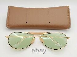 Vintage B&l Ray Ban Bausch & Lomb Green Changeable 62mm Gold Outdoorsman Avec Boîtier