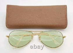 Vintage B&l Ray Ban Bausch & Lomb Green Changeables 62mm Gold Aviator Withcase